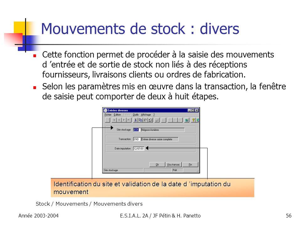 Année 2003-2004E.S.I.A.L. 2A / JF Pétin & H. Panetto56 Mouvements de stock : divers Cette fonction permet de procéder à la saisie des mouvements d ent