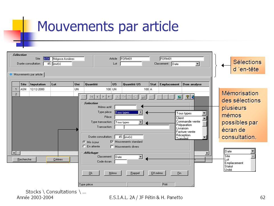 Année 2003-2004E.S.I.A.L. 2A / JF Pétin & H. Panetto62 Mouvements par article Sélections d en-tête Mémorisation des sélections plusieurs mémos possibl