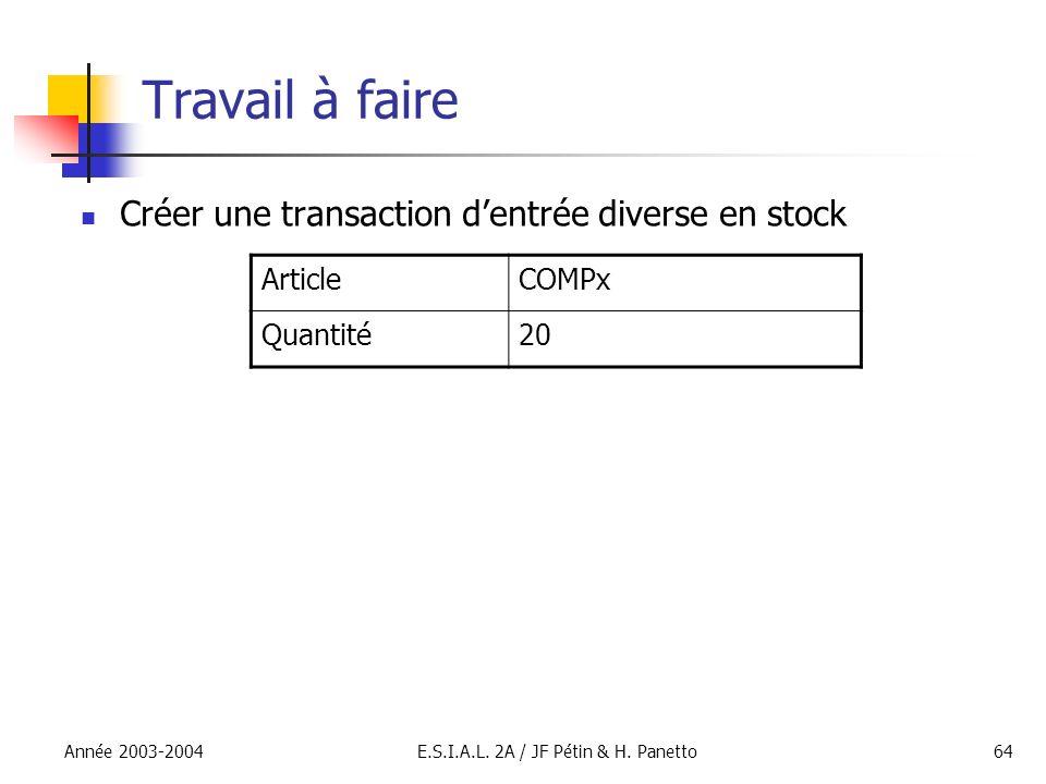 Année 2003-2004E.S.I.A.L. 2A / JF Pétin & H. Panetto64 Travail à faire Créer une transaction dentrée diverse en stock ArticleCOMPx Quantité20