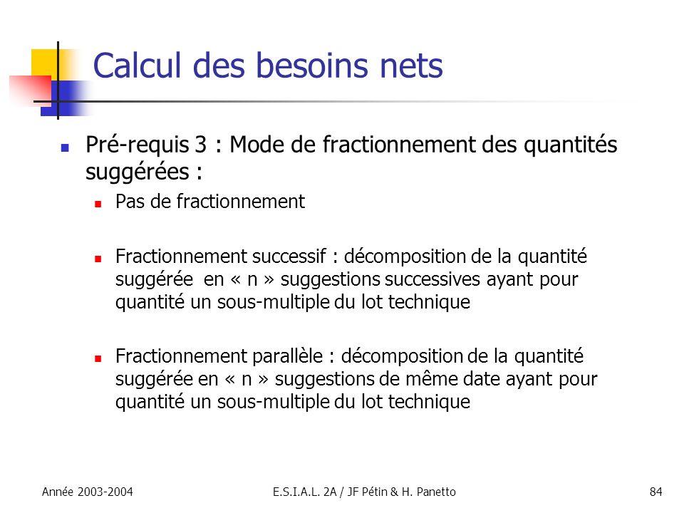 Année 2003-2004E.S.I.A.L. 2A / JF Pétin & H. Panetto84 Calcul des besoins nets Pré-requis 3 : Mode de fractionnement des quantités suggérées : Pas de