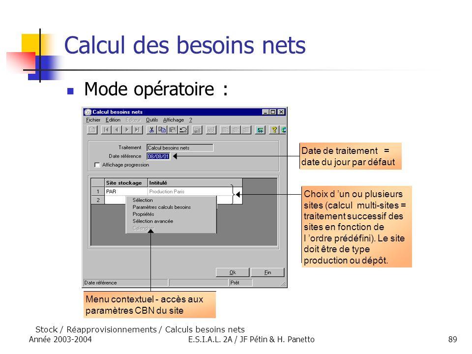 Année 2003-2004E.S.I.A.L. 2A / JF Pétin & H. Panetto89 Calcul des besoins nets Mode opératoire : Choix d un ou plusieurs sites (calcul multi-sites = t