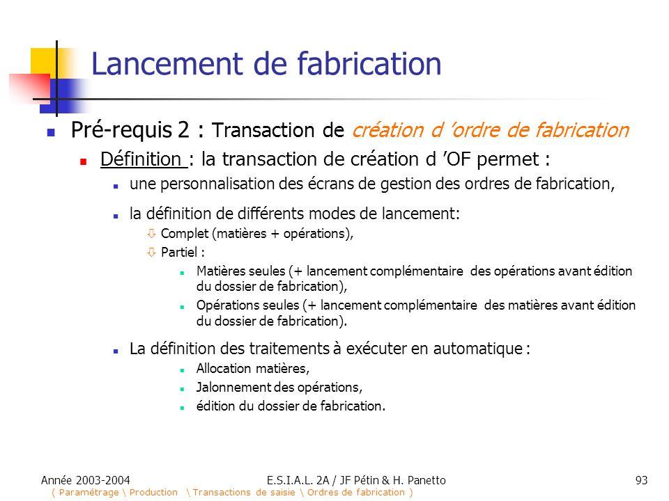 Année 2003-2004E.S.I.A.L. 2A / JF Pétin & H. Panetto93 Lancement de fabrication Pré-requis 2 : Transaction de création d ordre de fabrication Définiti