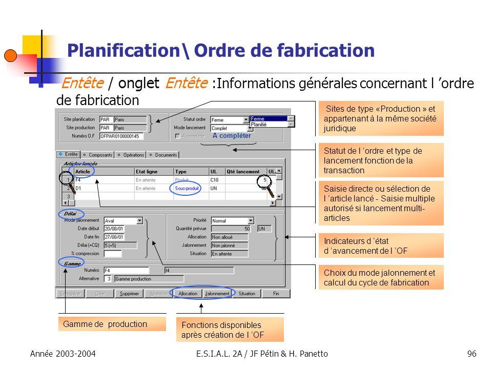 Année 2003-2004E.S.I.A.L. 2A / JF Pétin & H. Panetto96 Planification\ Ordre de fabrication Entête / onglet Entête :Informations générales concernant l