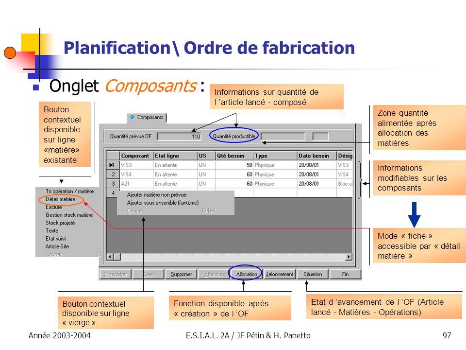 Année 2003-2004E.S.I.A.L. 2A / JF Pétin & H. Panetto97 Planification\ Ordre de fabrication Onglet Composants : Bouton contextuel disponible sur ligne