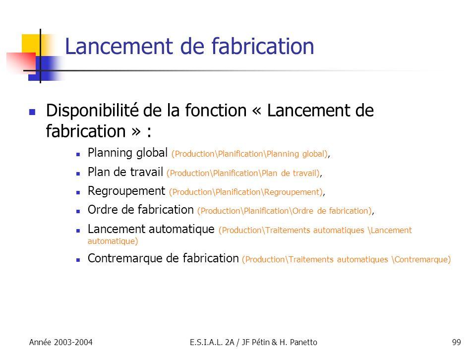 Année 2003-2004E.S.I.A.L. 2A / JF Pétin & H. Panetto99 Lancement de fabrication Disponibilité de la fonction « Lancement de fabrication » : Planning g