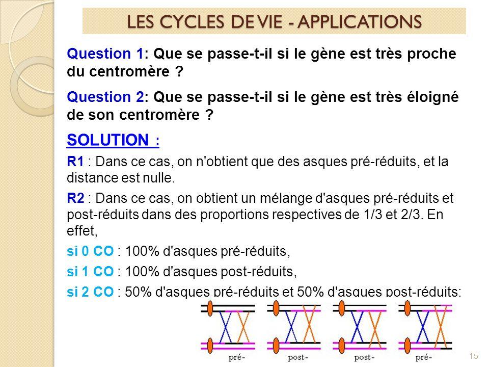 15 Question 1: Que se passe-t-il si le gène est très proche du centromère .