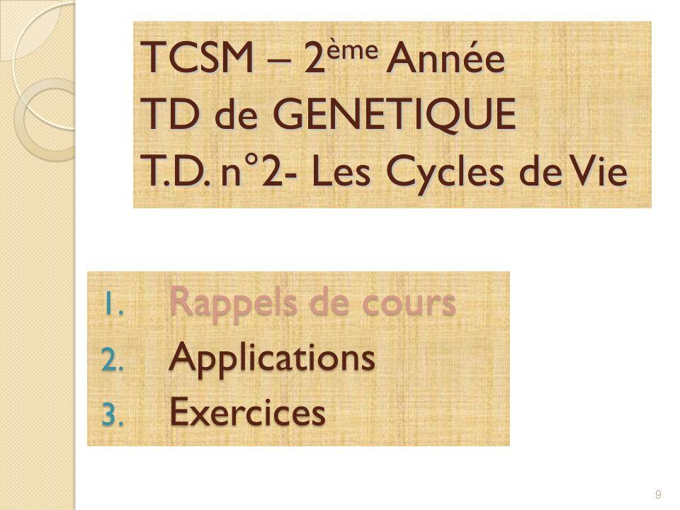 TCSM – 2 ème Année TD de GENETIQUE T.D.n°2- Les Cycles de Vie 1.