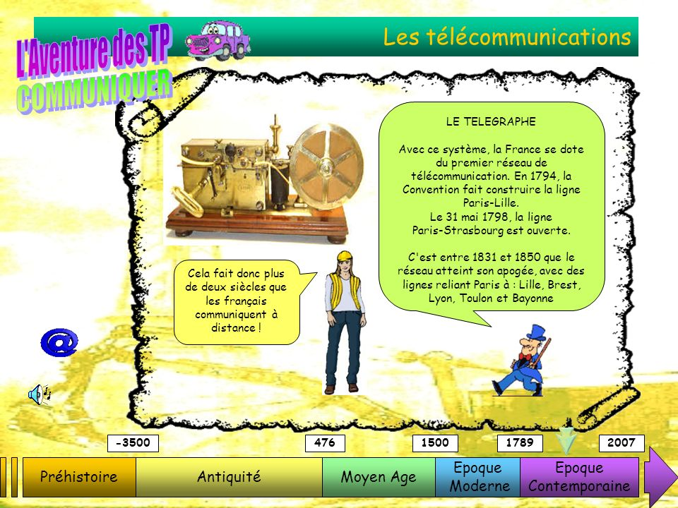 Les télécommunications PréhistoireAntiquitéMoyen Age Epoque Moderne Epoque Contemporaine -3500476150017892007 LE TELEGRAPHE Avec ce système, la France