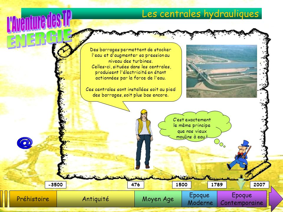 Les centrales hydrauliques PréhistoireAntiquitéMoyen Age Epoque Moderne Epoque Contemporaine -3500476150017892007 Des barrages permettent de stocker l