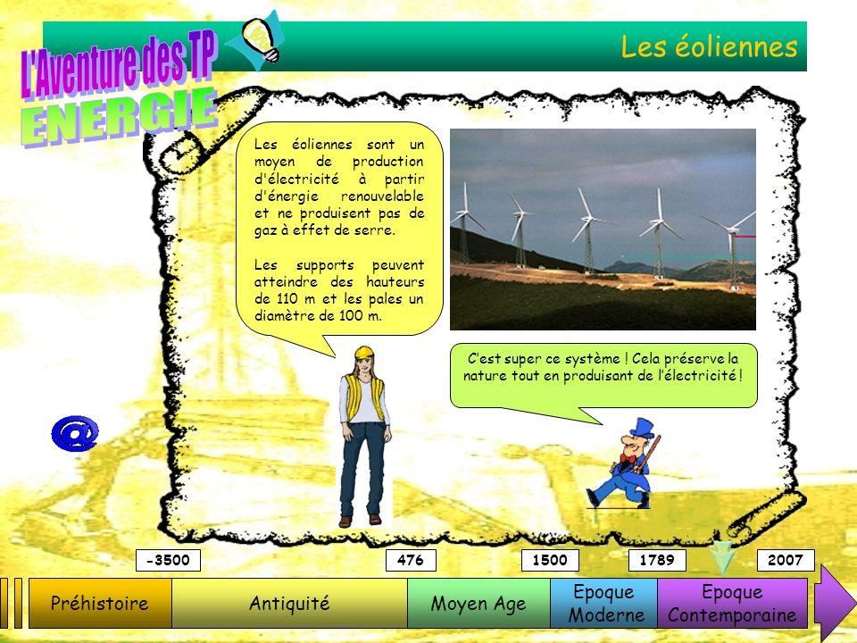 Les éoliennes Les éoliennes sont un moyen de production d'électricité à partir d'énergie renouvelable et ne produisent pas de gaz à effet de serre. Le