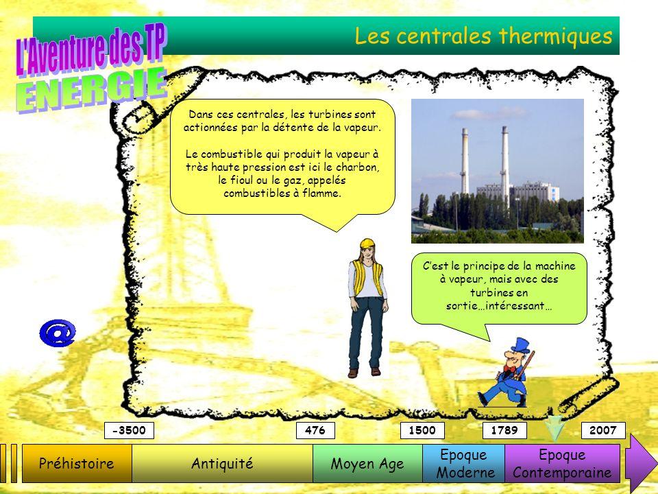 Les centrales thermiques PréhistoireAntiquitéMoyen Age Epoque Moderne Epoque Contemporaine -3500476150017892007 Dans ces centrales, les turbines sont
