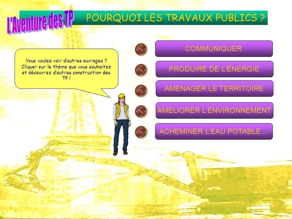 POURQUOI LES TRAVAUX PUBLICS ? COMMUNIQUER AMENAGER LE TERRITOIRE AMELIORER LENVIRONNEMENT PRODUIRE DE LENERGIE ACHEMINER LEAU POTABLE… Vous voulez vo