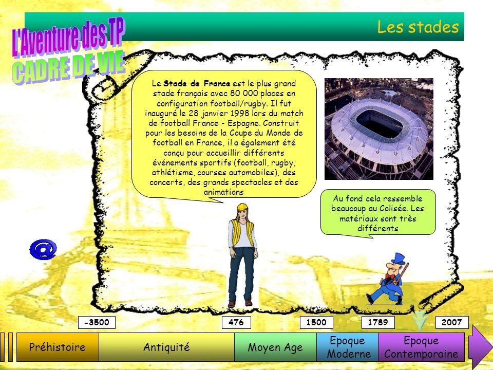 Les stades PréhistoireAntiquitéMoyen Age Epoque Moderne Epoque Contemporaine -3500476150017892007 Le Stade de France est le plus grand stade français