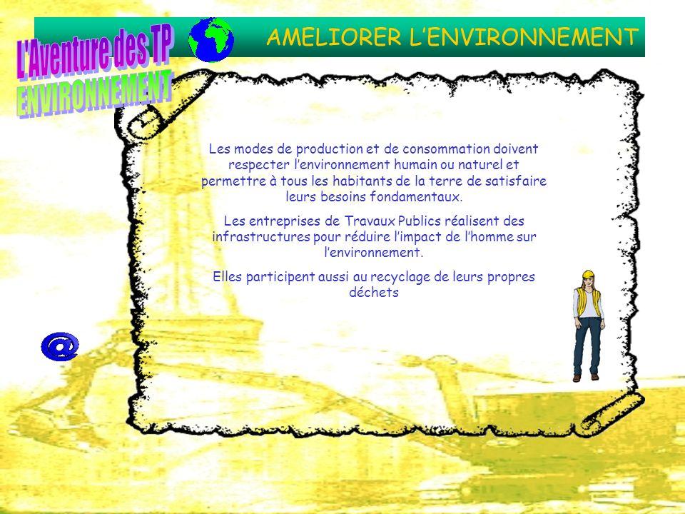 AMELIORER LENVIRONNEMENT Les modes de production et de consommation doivent respecter lenvironnement humain ou naturel et permettre à tous les habitan