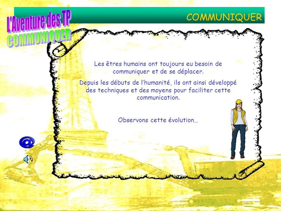 COMMUNIQUER Les êtres humains ont toujours eu besoin de communiquer et de se déplacer. Depuis les débuts de lhumanité, ils ont ainsi développé des tec