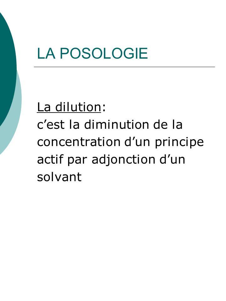 LA POSOLOGIE La dilution: cest la diminution de la concentration dun principe actif par adjonction dun solvant