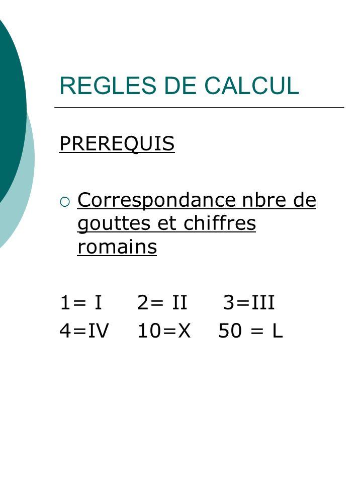 REGLES DE CALCUL PREREQUIS Correspondance nbre de gouttes et chiffres romains 1= I 2= II 3=III 4=IV 10=X 50 = L