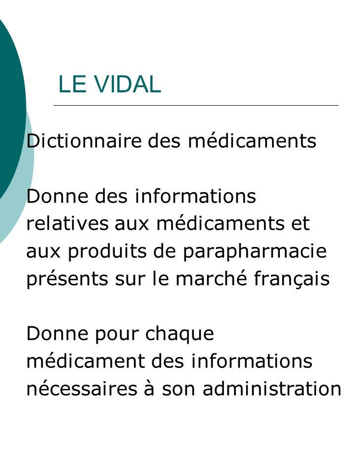 LE VIDAL Dictionnaire des médicaments Donne des informations relatives aux médicaments et aux produits de parapharmacie présents sur le marché françai