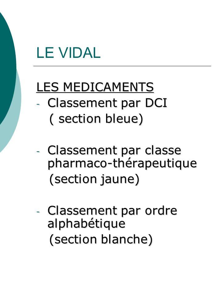 LE VIDAL LES MEDICAMENTS - Classement par DCI ( section bleue) ( section bleue) - Classement par classe pharmaco-thérapeutique (section jaune) (sectio
