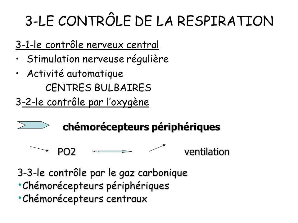 3-LE CONTRÔLE DE LA RESPIRATION 3-1-le contrôle nerveux central Stimulation nerveuse régulière Activité automatique CENTRES BULBAIRES 3-2-le contrôle