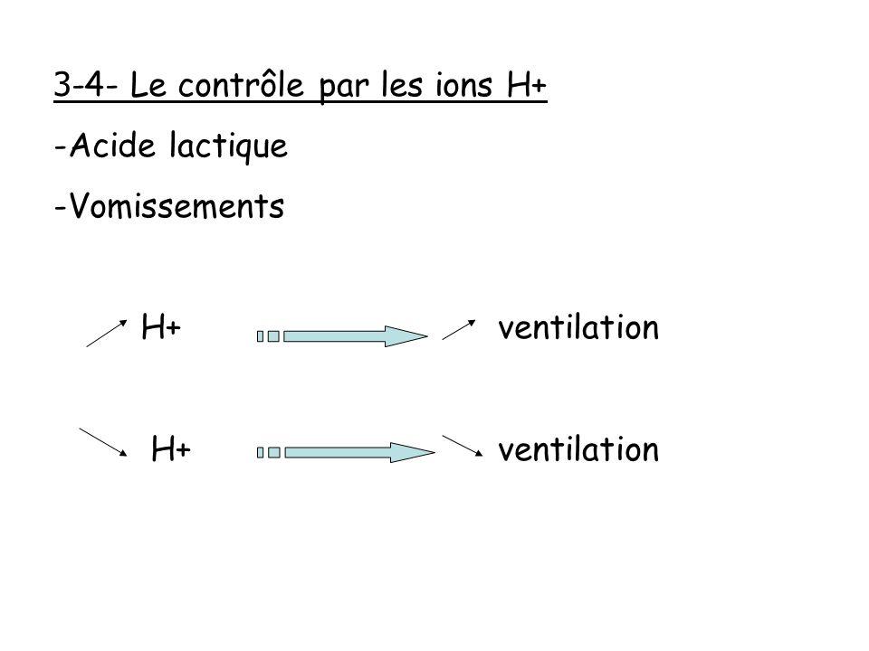3 -4- Le contrôle par les ions H+ -Acide lactique -Vomissements H+ ventilation