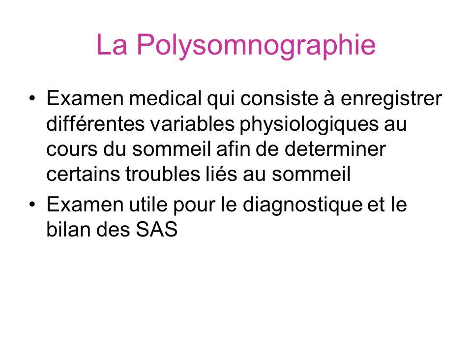 La Polysomnographie Examen medical qui consiste à enregistrer différentes variables physiologiques au cours du sommeil afin de determiner certains tro
