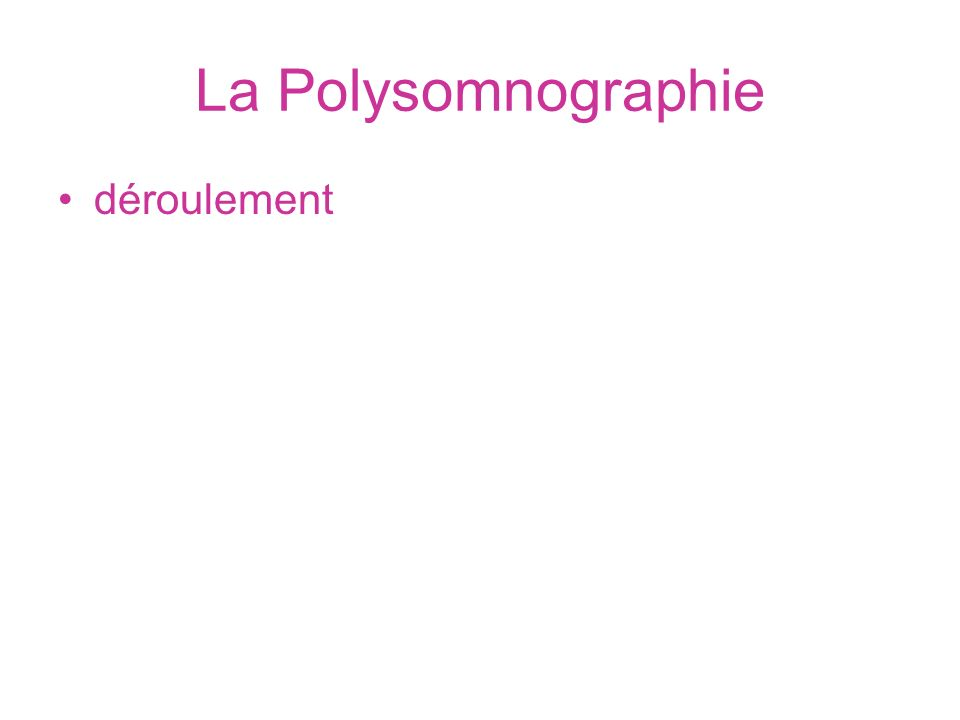 La Polysomnographie déroulement