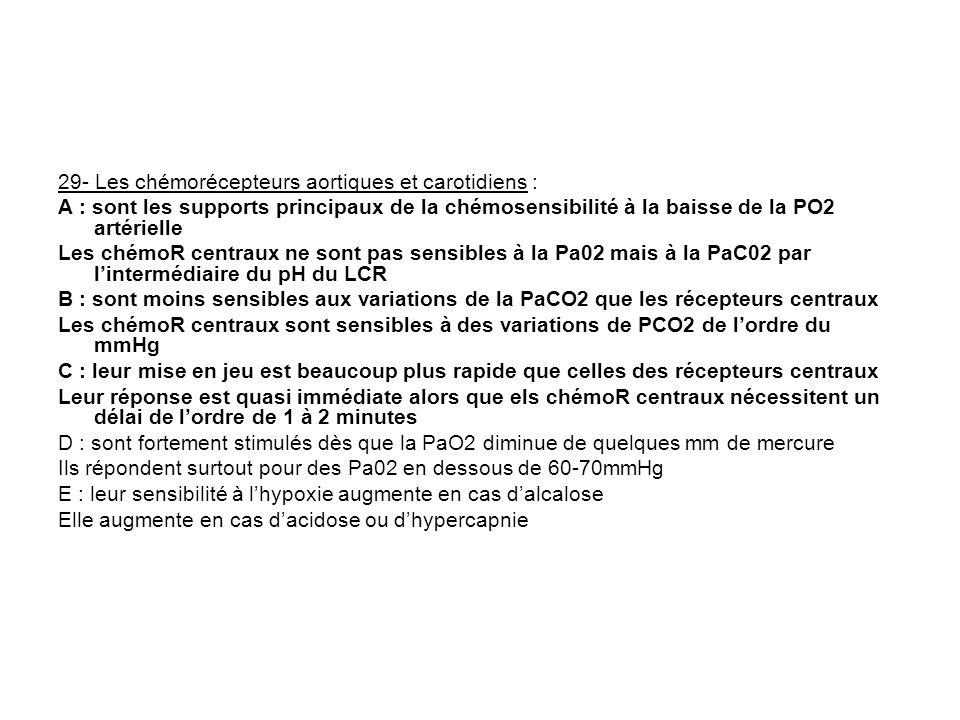 29- Les chémorécepteurs aortiques et carotidiens : A : sont les supports principaux de la chémosensibilité à la baisse de la PO2 artérielle Les chémoR