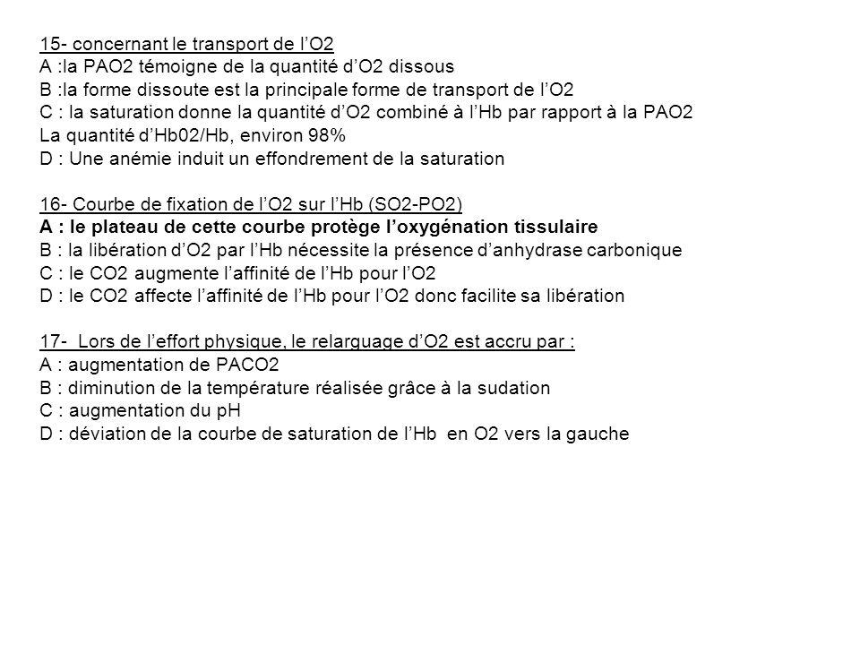15- concernant le transport de lO2 A :la PAO2 témoigne de la quantité dO2 dissous B :la forme dissoute est la principale forme de transport de lO2 C :