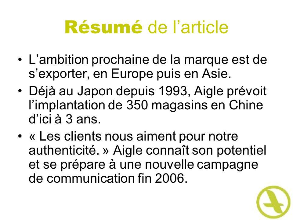 Résumé de larticle Lambition prochaine de la marque est de sexporter, en Europe puis en Asie. Déjà au Japon depuis 1993, Aigle prévoit limplantation d