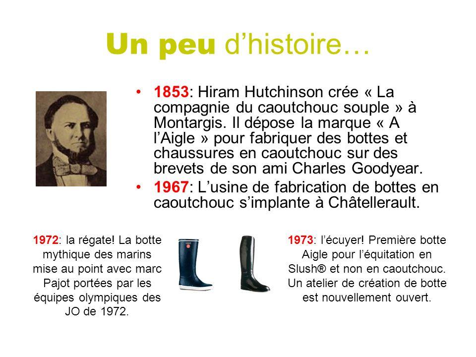 Un peu dhistoire… 1853: Hiram Hutchinson crée « La compagnie du caoutchouc souple » à Montargis. Il dépose la marque « A lAigle » pour fabriquer des b