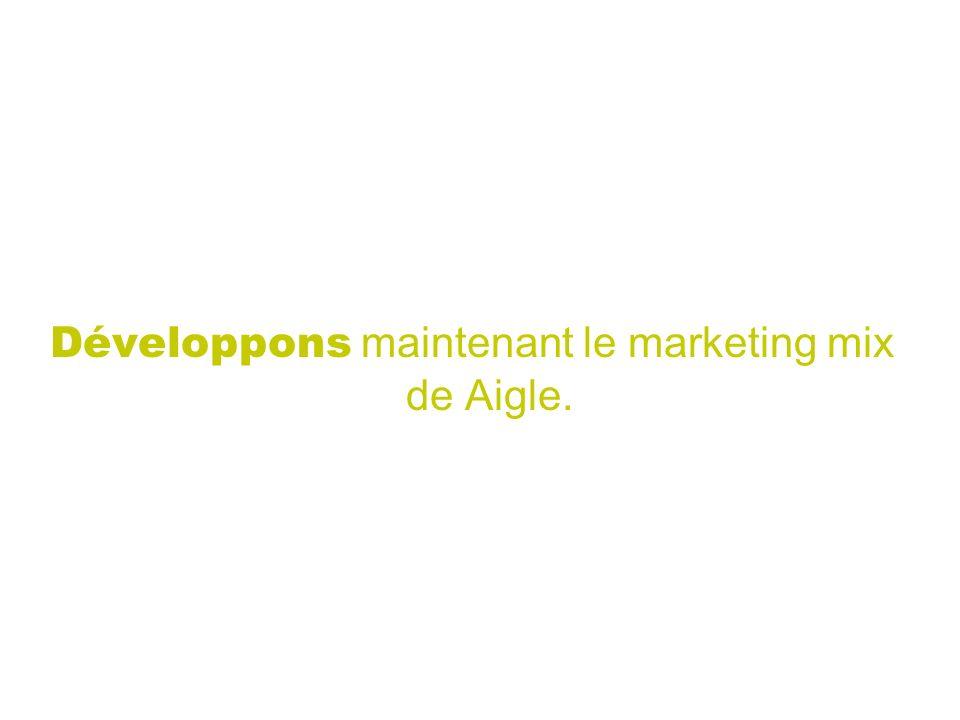 Développons maintenant le marketing mix de Aigle.