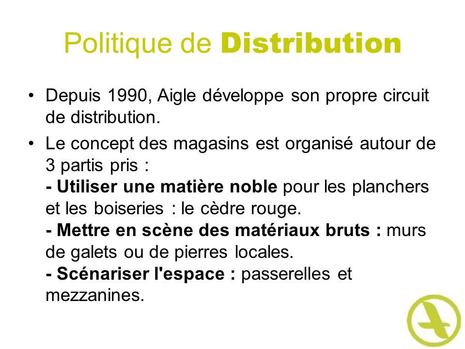 Politique de Distribution Depuis 1990, Aigle développe son propre circuit de distribution. Le concept des magasins est organisé autour de 3 partis pri