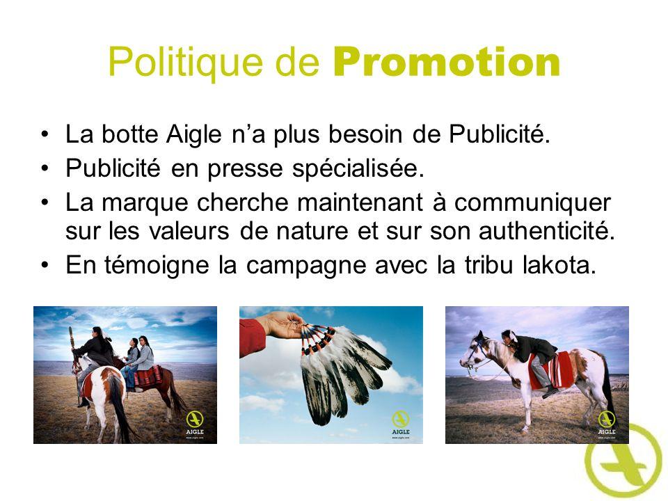 Politique de Promotion La botte Aigle na plus besoin de Publicité. Publicité en presse spécialisée. La marque cherche maintenant à communiquer sur les