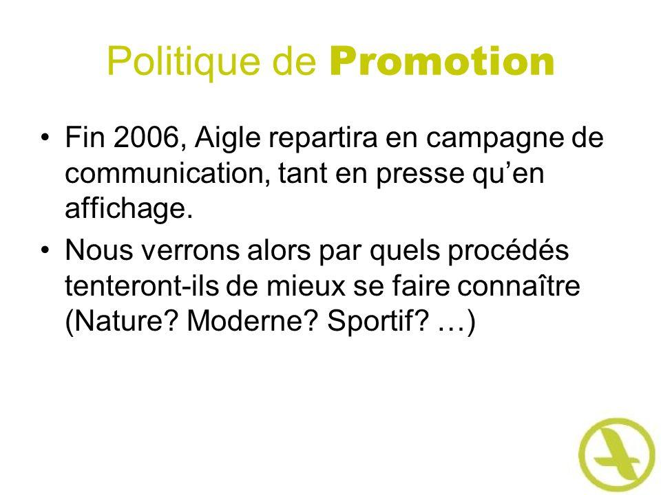 Politique de Promotion Fin 2006, Aigle repartira en campagne de communication, tant en presse quen affichage. Nous verrons alors par quels procédés te