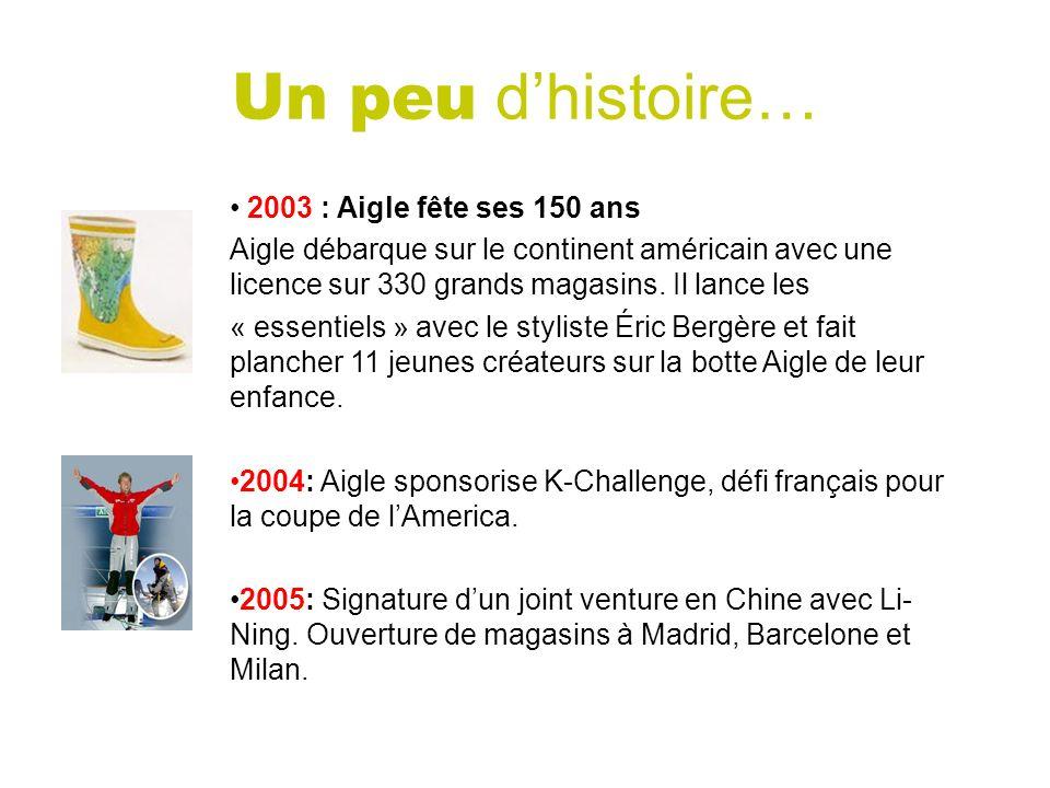 2003 : Aigle fête ses 150 ans Aigle débarque sur le continent américain avec une licence sur 330 grands magasins. Il lance les « essentiels » avec le