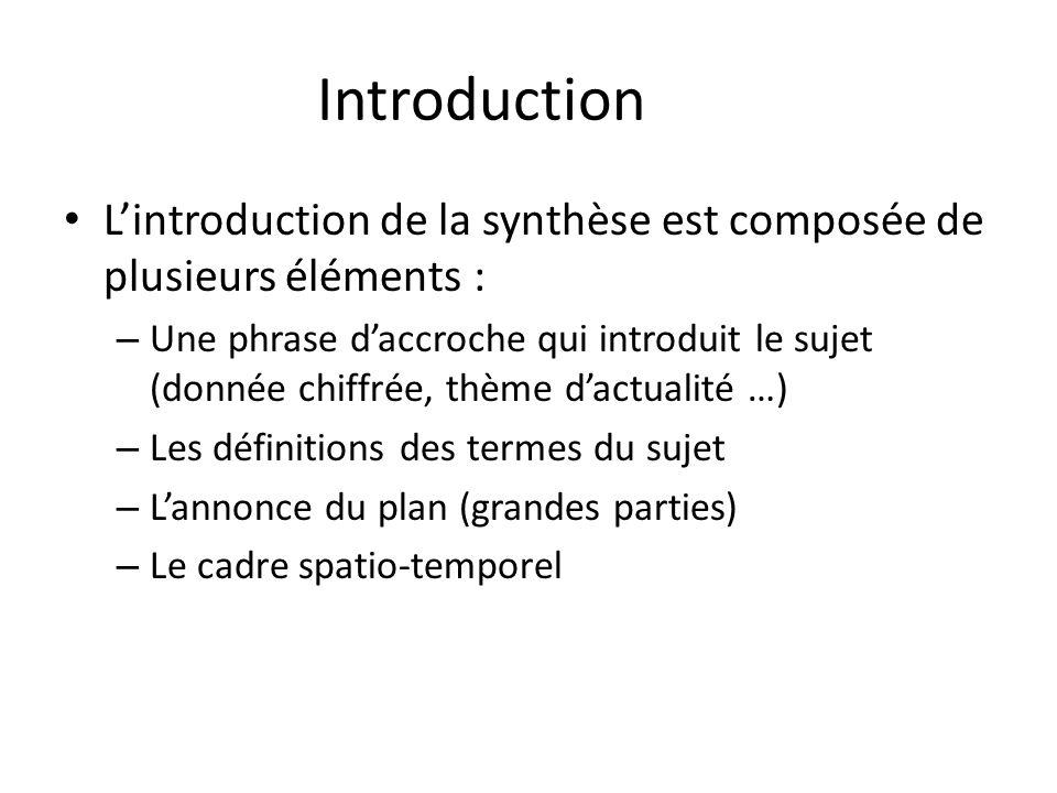 Introduction Lintroduction de la synthèse est composée de plusieurs éléments : – Une phrase daccroche qui introduit le sujet (donnée chiffrée, thème d