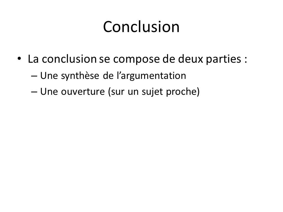 Conclusion La conclusion se compose de deux parties : – Une synthèse de largumentation – Une ouverture (sur un sujet proche)