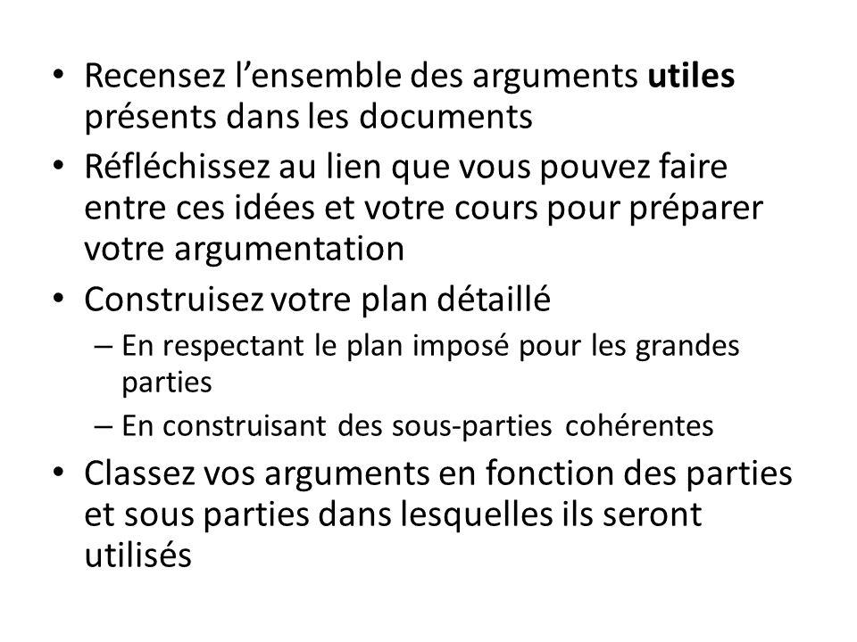 Recensez lensemble des arguments utiles présents dans les documents Réfléchissez au lien que vous pouvez faire entre ces idées et votre cours pour pré
