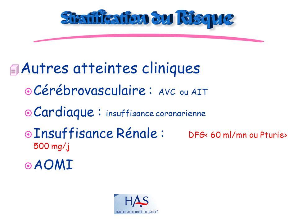 JD 4 Autres atteintes cliniques ¤ Cérébrovasculaire : AVC ou AIT ¤ Cardiaque : insuffisance coronarienne ¤ Insuffisance Rénale : DFG 500 mg/j ¤ AOMI