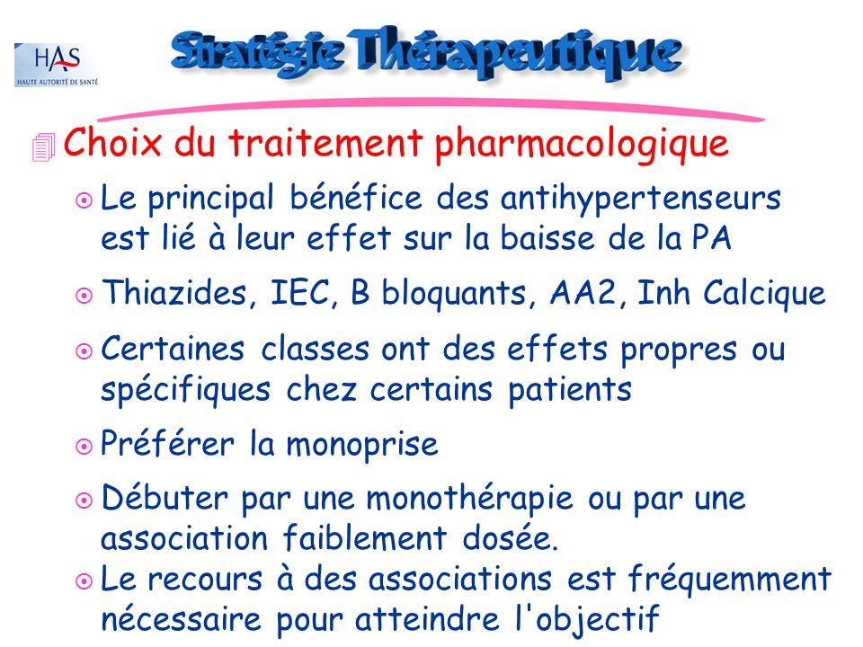 JD 4 Choix du traitement pharmacologique ¤ Le principal bénéfice des antihypertenseurs est lié à leur effet sur la baisse de la PA ¤ Thiazides, IEC, B