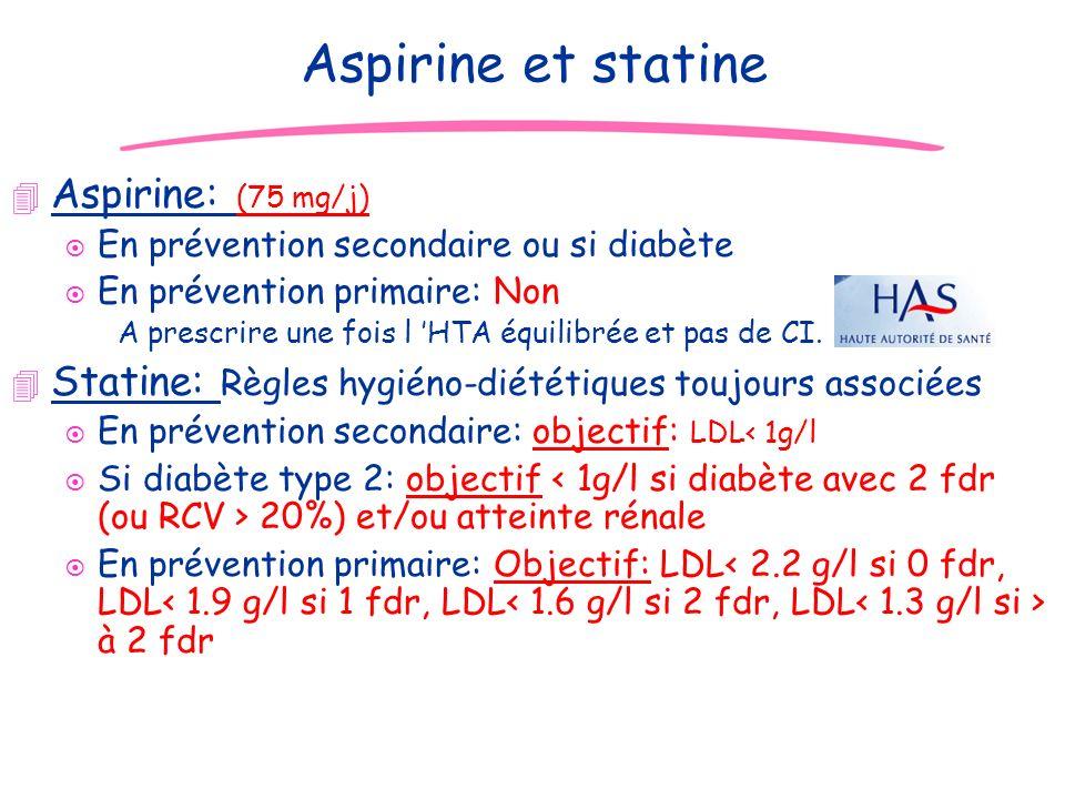 JD Aspirine et statine 4 Aspirine: (75 mg/j) ¤ En prévention secondaire ou si diabète ¤ En prévention primaire: Non A prescrire une fois l HTA équilib