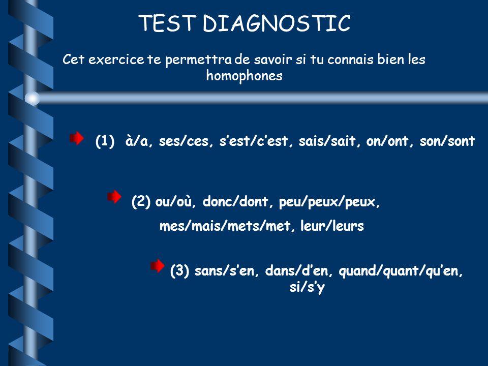 TEST DIAGNOSTIC Cet exercice te permettra de savoir si tu connais bien les homophones (1) à/a, ses/ces, sest/cest, sais/sait, on/ont, son/sont (2) ou/