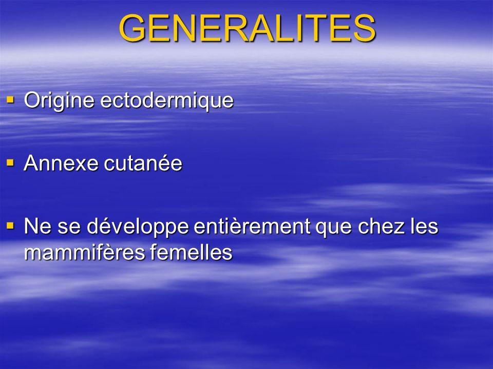 GENERALITES Origine ectodermique Origine ectodermique Annexe cutanée Annexe cutanée Ne se développe entièrement que chez les mammifères femelles Ne se