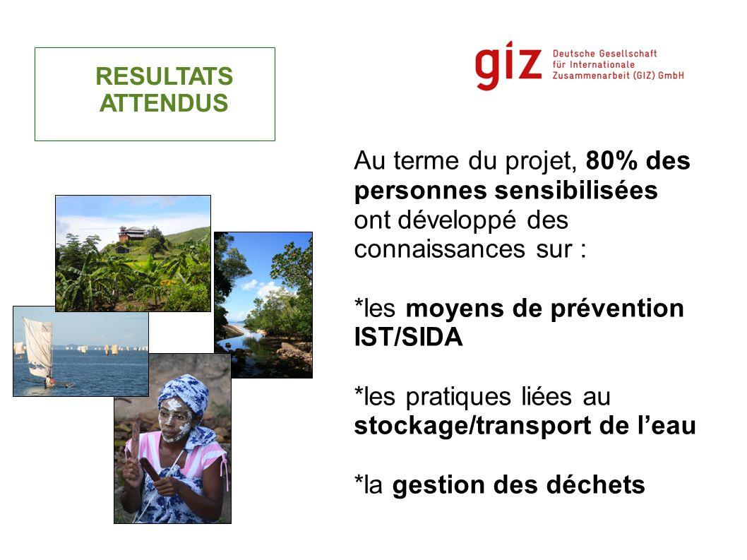 RESULTATS ATTENDUS Au terme du projet, 80% des personnes sensibilisées ont développé des connaissances sur : *les moyens de prévention IST/SIDA *les p