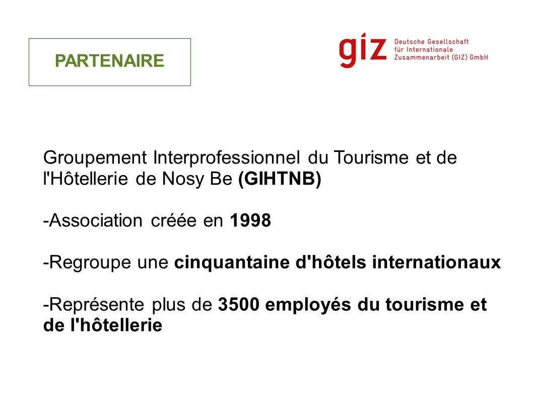 PARTENAIRE Groupement Interprofessionnel du Tourisme et de l'Hôtellerie de Nosy Be (GIHTNB) -Association créée en 1998 -Regroupe une cinquantaine d'hô