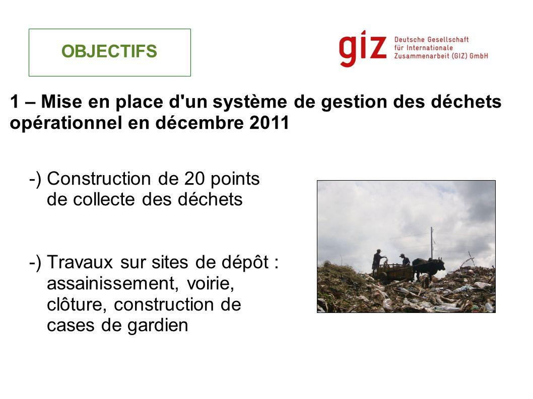 -) Construction de 20 points de collecte des déchets -) Travaux sur sites de dépôt : assainissement, voirie, clôture, construction de cases de gardien