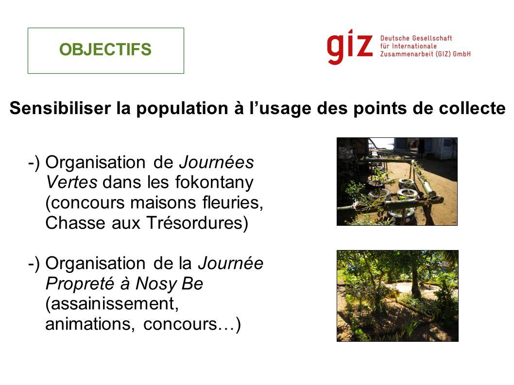-) Organisation de Journées Vertes dans les fokontany (concours maisons fleuries, Chasse aux Trésordures) -) Organisation de la Journée Propreté à Nos