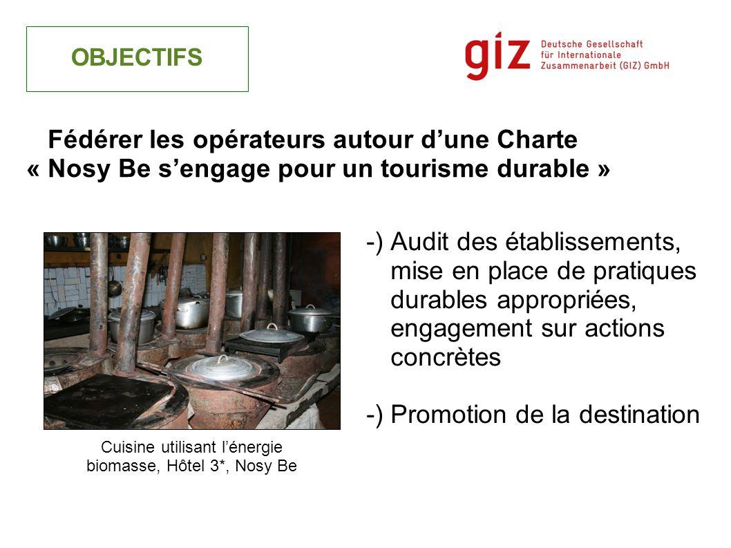 -) Audit des établissements, mise en place de pratiques durables appropriées, engagement sur actions concrètes -) Promotion de la destination OBJECTIF