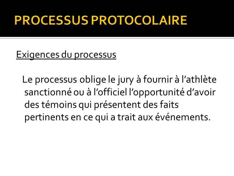 PROCESSUS PROTOCOLAIRE Exigences du processus Le processus oblige le jury à fournir à lathlète sanctionné ou à lofficiel lopportunité davoir des témoins qui présentent des faits pertinents en ce qui a trait aux événements.